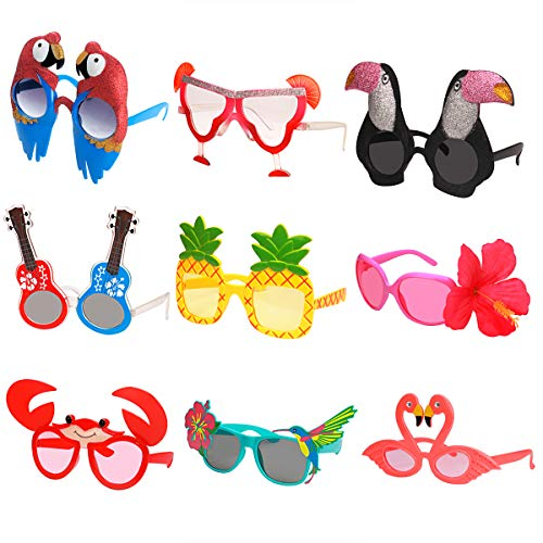 Ocean Line Luau Party Sunglasses - 9 Pairs Funny Hawaiian Glasses, Tropical Fancy Dress Favors, Fun Summer Party Photo Booth Props, Novelty Party Supplies Decoration for Kids and Adults