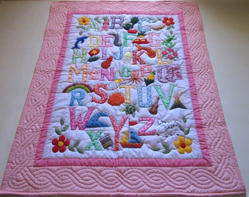 (Hawaiian Style Quilt ABC baby blanket wall hanging, Hand Quilted and Machine Appliqued)