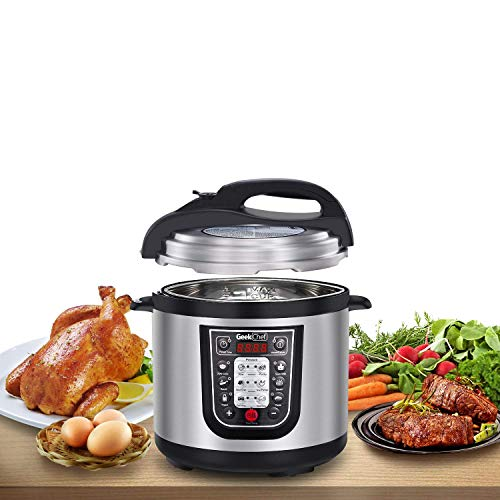 Geek Chef 6 Qt Electric Pressure Cooker Stainless Steel Inner Pot, 11-in-1 Multi-Use Programmable Pressure Cooker, Slow Cooker, Rice Cooker, Steamer, Sauté, Yogurt Maker and Warmer