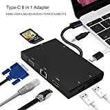 [8in1]USB-C to Hub,PD Quick Charge(Max 3A)USB-C to Type-c/HDMI/ VGA / Card Reader/3.5mm audio/USB 3.0 Ports2 /Gigabit Ethernet Adapter Cable,For Macbook/DELL/Lenovo/Chromebook/Gigabyte/HUAWEI MATE