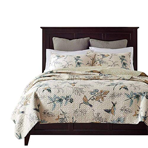 (Brandream American Country Comforter Sets, Birds Printing Queen Quilt Set, Beige 3Pcs)