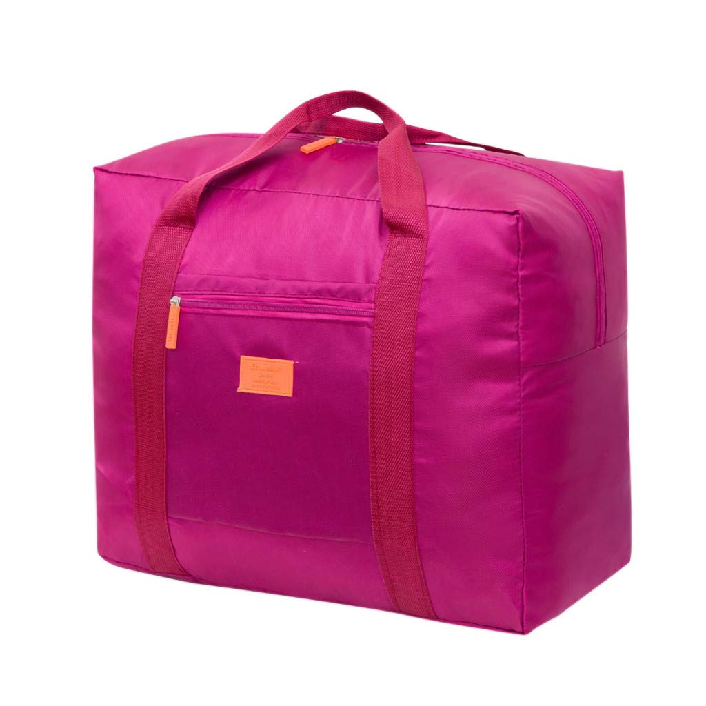Travel Duffel Bag Foldable Lightweight Waterproof Large Capacity Compact Luggage Tote with Sturdy Handles and Zipper Anti Dust Washable Durable Carry-on Totes for Men Women (Hot Pink)