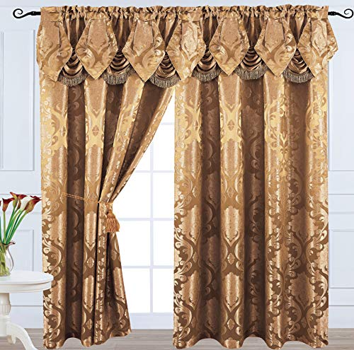 Venice Collections Luxury Jacquard Curtain Panel with Attached Waterfall Valance, 54 by 84-Inch Angelina (Light Brown)