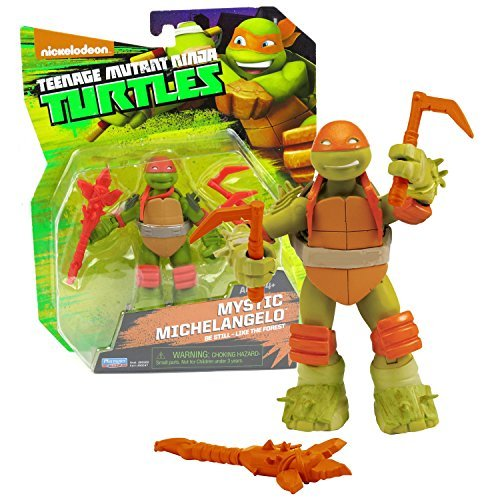 Playmates Year 2014 Nickelodeon Teenage Mutant Ninja Turtles 5 Inch Tall Action Figure : Be Still - Like the Forest MYSTIC MICHELANGELO with Twin Kama and Battle Axe (Teenage Mutant Ninja Turtles 2014 Action Figures)