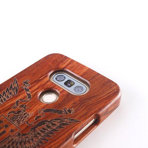para LG G4 Wood Case, Vandot 2 en 1 Funda Madera Real Rigida Cubierta Carcasa Protectiva Tapa Trasera Anti-Shock Caja del teléfono móvil para LG G4, Diseño del árbol de coco Madera 11