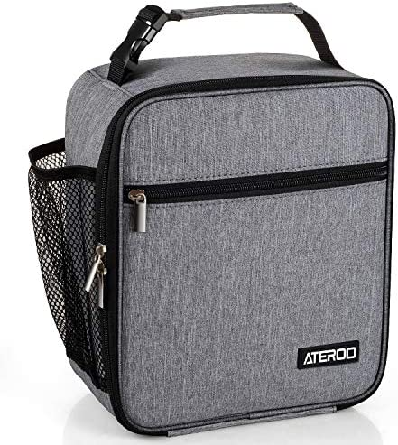 ATEROD Lunch Box Leakproof Insulated Lunch Bags for Women Men Adult Reusable Tote Lunch Boxes for Work Picnic Container Fits 8 Cans (Heather Grey)