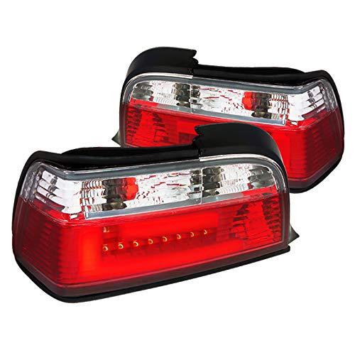(Spec-D Tuning LT-E362RPW-F2-APC New 3D Led Light Bar E36 3-Series 2Dr Red/Clear Tail Lights Brake Lamps)
