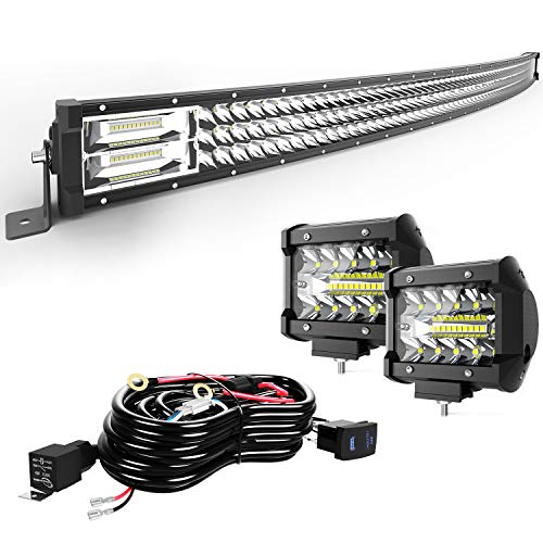 TURBOSII Led Light Bar 30/32Inch 441W Curved Triple Row Offroad Led Bar Waterproof 44100LM Spot Flood Combo + 2Pc 4Inch Led Pods Fog Lights + Wiring For Jeep Truck Suv Polaris Ranger Rzr Golf Cart 4x4