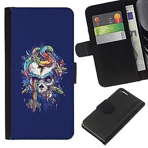 EJOY---La carpeta del tirón la caja de cuero de alta calidad de la PU Caso protector / Apple Iphone 5C / --Arco iris púrpura del cráneo de la serpiente azul