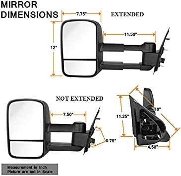 Right Pair For 07-13 Chevy Siverado Extendable Towing Power Telescoping Wide Angle Side Mirrors Left