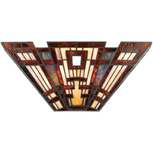 Quoizel TFCC8802 Classic Craftsman Tiffany Wall Sconce, 2-Light, 120 Watts, Tiffany (7