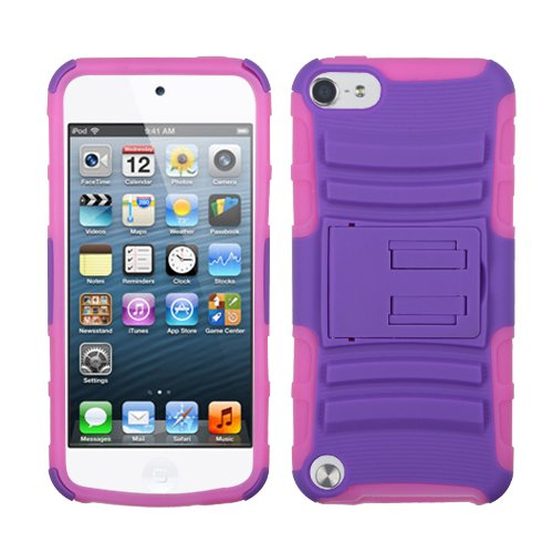 Ipod Touch Faceplates (Asmyna Purple/Electric Pink Advanced Armor Stand Protector Cover for iPod touch 5)