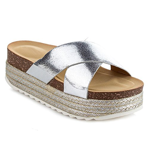 (Women's Espadrille Platform Slide Sandals Fashion Criss Cross Slip On Flat Summer Beach Casual Shoes GG10 Silver 10)
