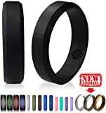 Silicone Wedding Ring by Knot Theory (Black, Size 9.5-10) - 6mm Band for Superior Comfort, Style, and Safety