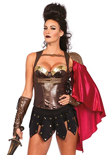 Leg Avenue Women's Warrior Armor Bustier with Stud Accents Costume Accessory, Brown, Small ()