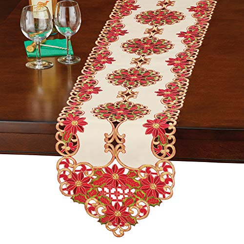 (Christmas Poinsettia Table Runner/Topper Linens, Elegant Cut Work, Detailed Embroidered Red Green and Gold Art, Runner )