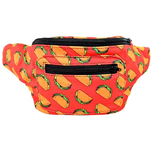 Taco Tuesday Fanny Pack, Mexican Boho Chic Handmade w/Hidden Pocket (Taco Pack) by Santa Playa