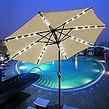 Yescom 9' Aluminium Solar Patio Umbrella With 32 LEDs Crank Tilt UV30+ Outdoor Deck Beach Cafe Garden (Pack of 2)