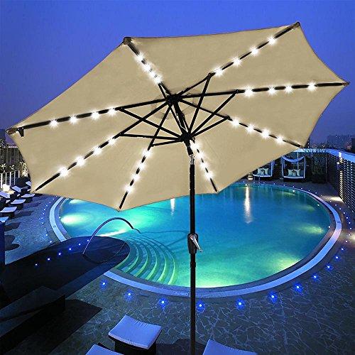 YesHom 9' Outdoor Solar Powered LED Umbrella 8 Ribs w/ 32 Lights Patio Garden Market Umbrella Tilt and Crank UV30 Beige (Led Solar Lights Powered Patio Umbrella)