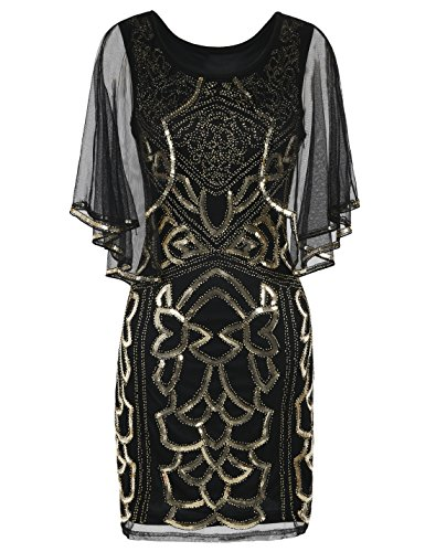 PrettyGuide Women's Flapper Dress 1920s Inspired Sequin Cape Deco Gatsby Dress XL Gold -