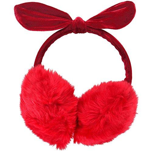 Simplicity Women's Faux Fur Fleece Winter Ear Warmers Earmuffs Fleece Bow, Red