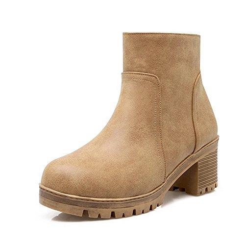 AllhqFashion Womens Solid PU Kitten-Heels Zipper Round Closed Toe Boots with Metal Brown l92va5Gs