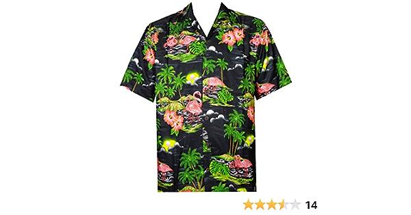 ALVISH - Camisas hawaianas de flamenco rosa para hombre, para playa, fiesta, casual, acampada, manga corta, crucero - Negro - Large