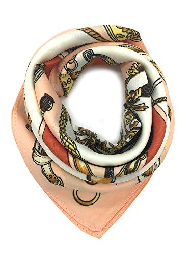 YOUR SMILE 100% Silk Scarf Women's Fashion Pattern Large Square Satin Headscarf Headdress 24''x24'' - Paisley Silk Scarve