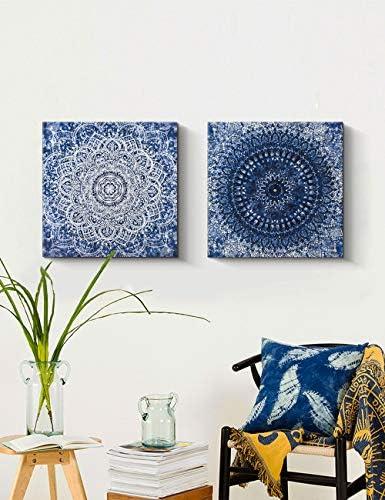 Blue Abstract Boho Canvas Wall Art Decor