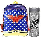 DC Comics Wonder Woman Girl's 12' Toddler Sized Backpack Plus Wonder Woman 24oz Crescent Bottle! BPA Free