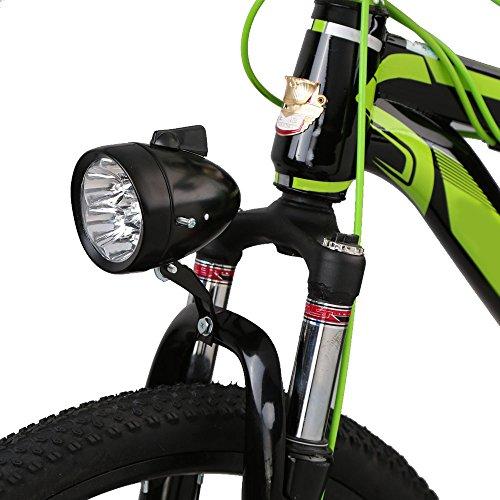 Gift Prod 1 Pcs Bicycle Headlight Retro Bike Lamp Accessory Front Light Bracket Vintage 7LED Headlight with Chrome Accent, Black (Style 2)
