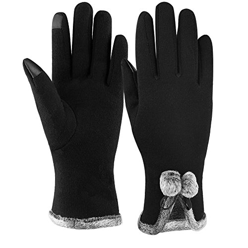 Winter Touch Screen Gloves,IEKA Thick Warmest Windproof Gloves,Fashion Touch Screen Fingers,Suitable for Smartphones and Touchscreen Devices - Black