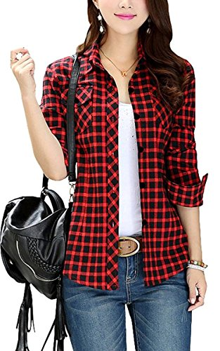 FShop365 Women Long Sleeve Roll Up Sleeve Casual Plaid Button-up Flannel Boyfriend Shirts