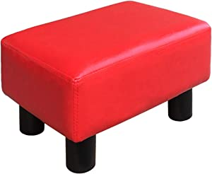 TOUCH-RICH Small Foot Rest Stool Rectangle Modern PU Faux Leather Ottoman Padded Seat Footrest Footstool in Red