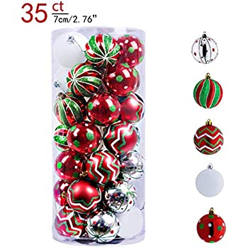 Valery Madelyn 35ct 70mm Classic Collection Splendor Red Green White Shatterproof Christmas Ball Ornaments Decoration,Themed with Tree Skirt(Not Included)