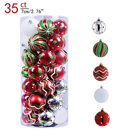 Valery Madelyn 35ct 70mm Classic Collection Splendor Red Green White Shatterproof Christmas Ball Ornaments DecorationThemed with Tree SkirtNot Included