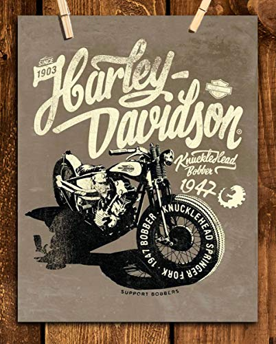 (Harley Davidson- 1947 Knucklehead Bobber Motorcycle Vintage Print-8 x10 Wall Decor- Ready To Frame. Harley Davidson Gifts- Home Decor- Office Decor. Great for Man Cave- Game Room- Bar- Garage.)