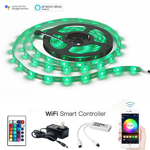 MagicLight WiFi LED Light Strip, Comes with 12V UL Listed Transformer - 16.4Ft 150LEDs IP65 Flexible RGB Strip Light - WiFi Control Box with 24Key Remote, Compatible with Alexa and - Bulb Led Strip Light