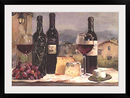 Buyartforless IF WAP 14585 40x30 2 Black DM Framed Villa Reds with Cheese & Grapes by Marilyn Hageman 40X30 Tuscan Art Print Poster Matted