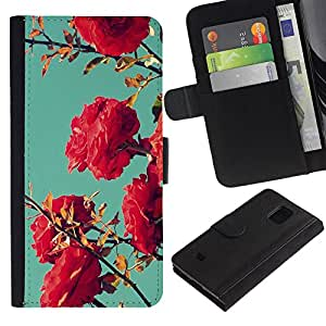 KingStore / Leather Etui en cuir / Samsung Galaxy S5 Mini, SM-G800 / Bush Rosa Rojo trullo Cielo Naturaleza Azul