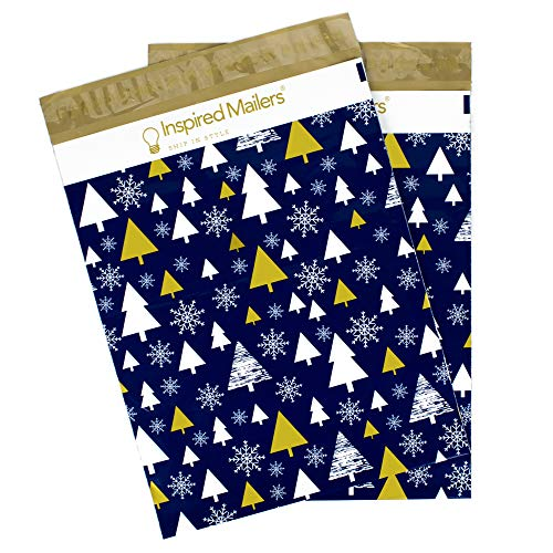 Inspired Mailers Poly Mailers 10x13 Deluxe Golden Christmas Trees – Pack of 100 – Unpadded Holiday Shipping Bags