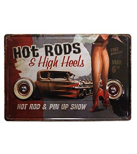 UNiQ Designs Tin Signs Hot Rods & High Heels Man Cave Garage Decor Retro Garage Poster Bar Wall Sign. Hot Rod & Pin Up Show - Metal Vintage Pub Sign, Pin Up Garage Sign or Garage Decor for Men 8 x 12 ()