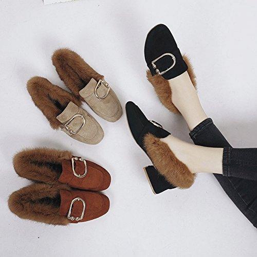 486a41b0 ... Zapatos de Cabeza Cuadrada con Cabello Grueso con Todo Tipo de Zapatos  de Lana Todos Coinciden