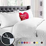 King Comforter Size Nestl Bedding Duvet Cover, Protects and Covers your Comforter/Duvet Insert, Luxury 100% Super Soft Microfiber, King Size, Color White, 3 Piece Duvet Cover Set Includes 2 Pillow Shams