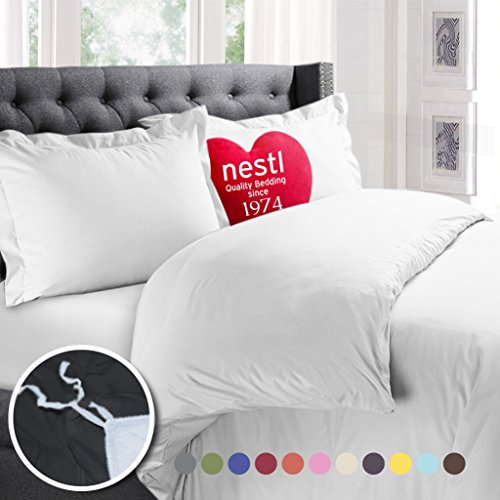 Nestl Bedding Duvet Cover 3 Piece Set  Ultra Soft Double Brushed Microfiber Hotel Collection  Comforter Cover with Button Closure and 2 Pillow Shams, White - Queen 90