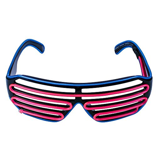 Fronnor Flashing Shutter Glasses 3 Mode LED Luminous EL glasses For Xmas Halloween Birthdays Party Decoration Supplies(Dark Blue Frame+Pink)