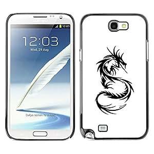 LASTONE PHONE CASE / Slim Protector Hard Shell Cover Case for Samsung Note 2 N7100 / Dragon Tattoo Black White Art