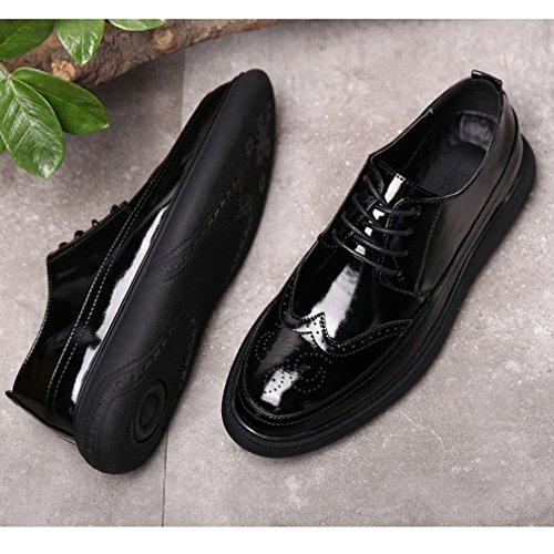 Xianshu Hombres Charol Mocasines Encaje Zapatos (Negro-38): Amazon.es: Zapatos y complementos