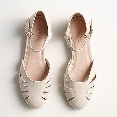 Cavo Singole Colore Bassi dimensioni UK4 Tacchi Donna Fondo sandali Bianca Giallo QIDI Slittata Testa Piatto Scarpe Rotonda EU36 BPY7nqw4