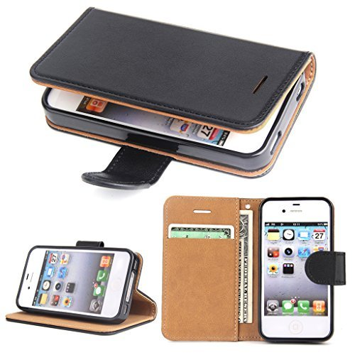 OKO iPhone 4 Leather Wallet Case Slim Flip Case, Shockproof Protective Phone Cover for Apple iPhone 4S/4 (Black) ()